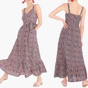 J.Crew Tiered Floral Maxi Dress Linen Blend